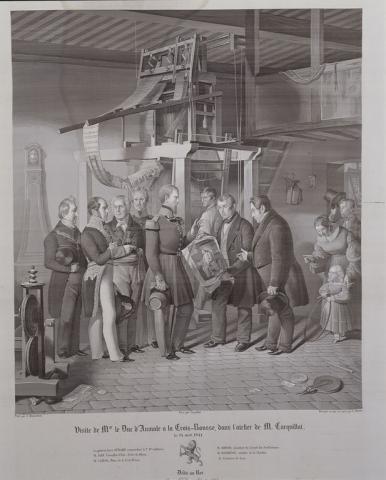 Visite de Mgr le duc d'Aumale à la Croix-Rousse dans l'atelier de M. Carquillat