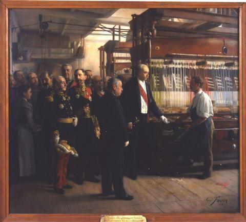 Le président de la République Française visitant l'atelier d'un ouvrier rubanier France, José Frappa, 1898