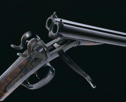 Fusil Lefaucheux : fusil de chasse de 1832 fabriqué à Paris