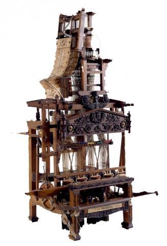Modèle réduit de métier à tisser les rubans à 4 pièces, une navette, et mécanique Jacquard Fabriqué par J.M. Prudhomme, 1862, Saint-Etienne.