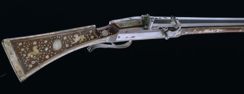 Mousquet à mèche : arme à feu du XVIe siècle fabriquée dans le sud de l'Allemagne