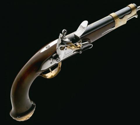 Pistolet des mousquetaires modèle 1814 : arme de poing de 1814 fabriquée à Saint-Etienne