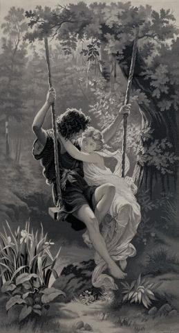 Le Printemps, tableau tissé Neyret Frères, d'après Pierre Auguste Cot, 1908, soie façonnée
