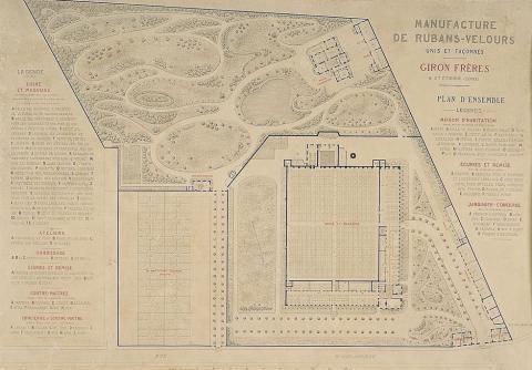 Manufacture de rubans et velours Giron Frères, plan d'ensemble Encre noire et gouache rouge sur papier velin, Ulysse Gros 1867
